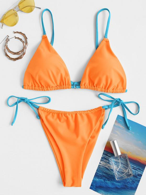 ZAFUL Contrast Strap O Ring String Bikini Swimwear - البرتقالي L