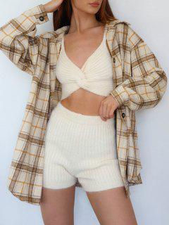 ZAFUL Twisted Fuzzy Knitted Skinny Shorts - White L