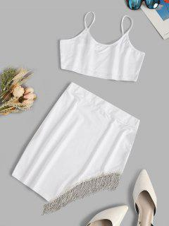 Fringed Rhinestone Cami Two Piece Skirt Set - White Xl