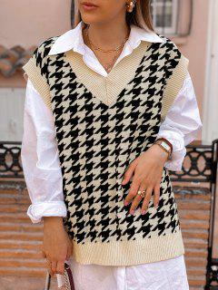 Houndstooth Stepped Hem Sweater Vest - Light Coffee M