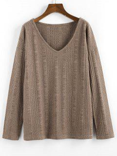 ZAFUL Drop Shoulder V Neck Knitted T Shirt - Light Brown M