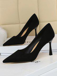 Solid Suede Pointed Toe High Heel Shoes - Black Eu 40