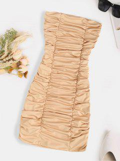 Strapless Ruched Bodycon Mini Dress - Light Coffee M