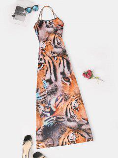 Slit 3D Tiger Print Criss Cross Long Cami Dress - Multi M