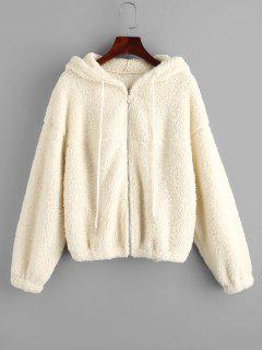 ZAFUL Hooded Zip Up Teddy Jacket - Warm White S