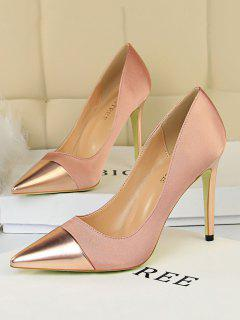 Satin Panel Pointed Toe High Heel Shoes - Champagne Eu 40
