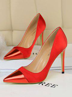 Satin Panel Pointed Toe High Heel Shoes - Red Eu 38