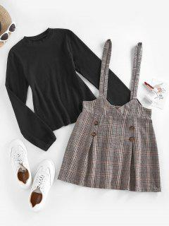 ZAFUL Ribbed Plaid Mock Button Suspender Skirt Set - Coffee M