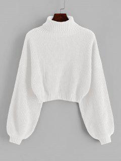 ZAFUL Turtleneck Lantern Sleeve Cropped Sweater - White S