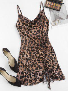 Cowl Neck Leopard Cinched Ruffle Mesh Dress - Coffee M
