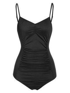 ZAFUL Ruched Cami Backless Bodysuit - Black L