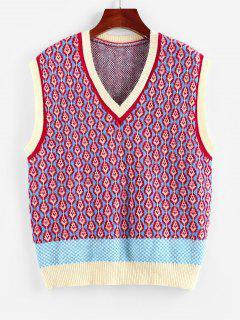 ZAFUL Geo Colorblock V Neck Sweater Vest - Multi L