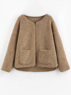 ZAFUL Reversible Faux Suede Drop Shoulder Pocket Teddy Coat - Tan M