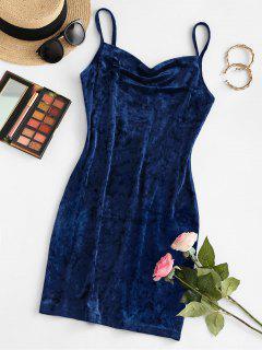 ZAFUL Cowl Front Velvet Mini Dress - Deep Blue M