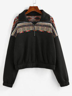 ZAFUL Graphic Knit Fleece Lined Half Zip Sweatshirt - Black M