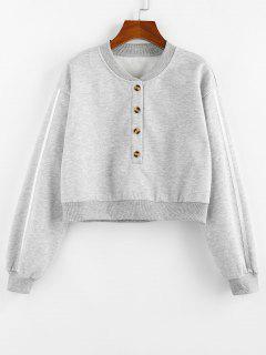 ZAFUL Fleece Lined Placket Drop Shoulder Taped Sweatshirt - Gray L