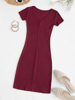 Rib-knit Bodycon Mini Slinky Tee Dress - Red