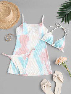 ZAFUL Tie Dye Halter Three Piece String Bikini Swimwear - Multi S