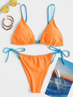 ZAFUL Contrast Strap O Ring String Bikini Swimwear - Orange L