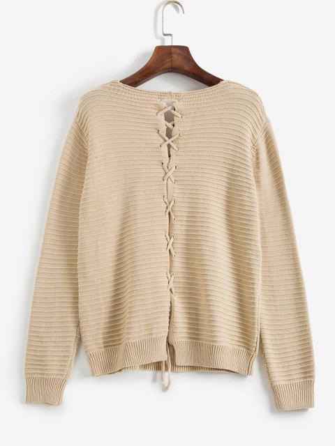 Schnürung Durchbrochener Pullover - Aprikose S Mobile