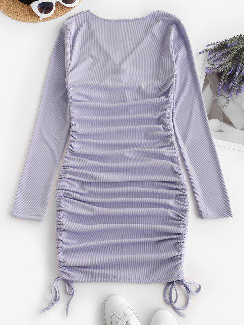 best Ribbed Twist Cinched Tie Ruched Bodycon Dress - LIGHT PURPLE M Mobile