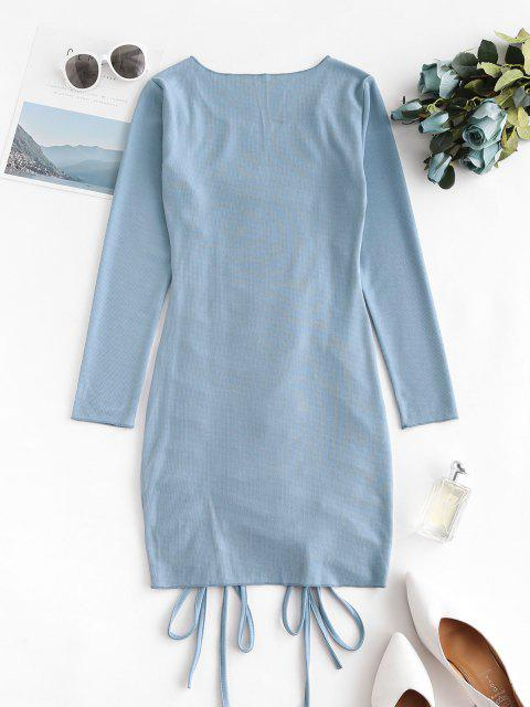 affordable Cinched Front Ribbed Long Sleeve Mini Dress - BLUE IVY XL Mobile
