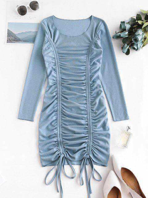 buy Cinched Front Ribbed Long Sleeve Mini Dress - BLUE IVY S Mobile