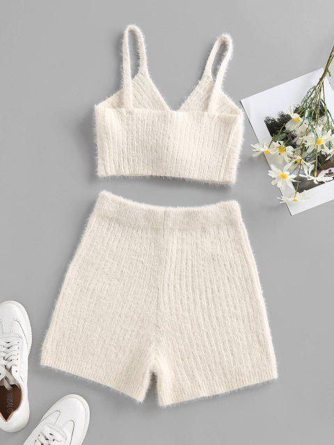 shop ZAFUL Twisted Fuzzy Knitted Skinny Shorts - WHITE L Mobile