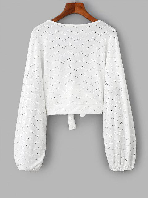 trendy Broderie Anglaise Batwing Tie Front Top - WHITE ONE SIZE Mobile