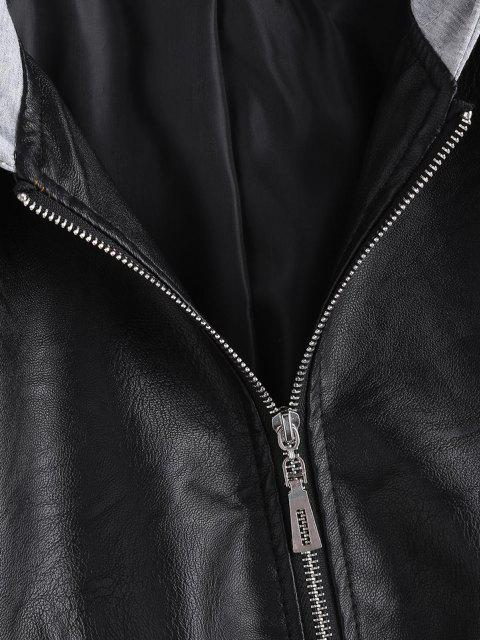 buy Zip Up Faux Leather Hooded Combo Jacket - BLACK S Mobile
