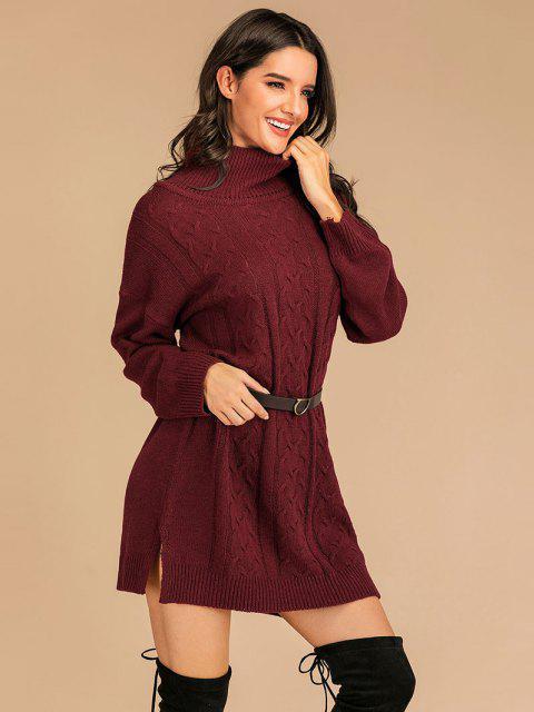 Vestido de Jersey con Abertura Hombros con Cuello Alto - Color rojo oscuro S Mobile