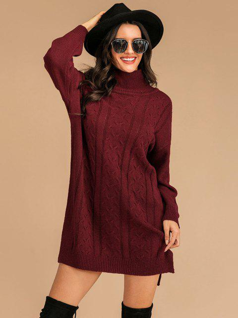 Vestido de Jersey con Abertura Hombros con Cuello Alto - Color rojo oscuro L Mobile