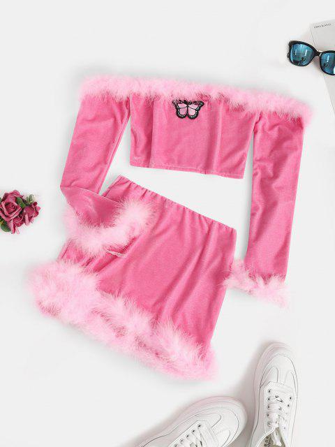 womens Feather Velvet Off Shoulder Two Piece Dress Set - LIGHT PINK XL Mobile