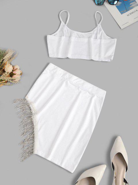 women Fringed Rhinestone Cami Two Piece Skirt Set - WHITE L Mobile