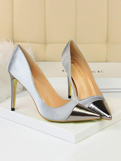best Satin Panel Pointed Toe High Heel Shoes - GRAY EU 37 Mobile