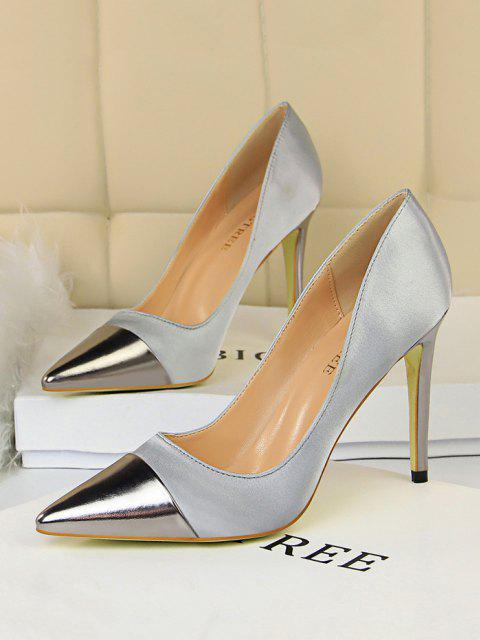 hot Satin Panel Pointed Toe High Heel Shoes - GRAY EU 40 Mobile
