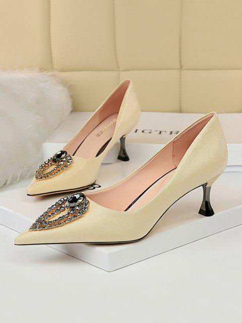 affordable Teardrop Rhinestone High Heel Shoes - CHAMPAGNE EU 40 Mobile