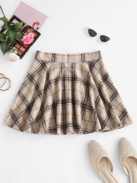outfits Checked Wool Blend Skater Skirt - LIGHT COFFEE M Mobile
