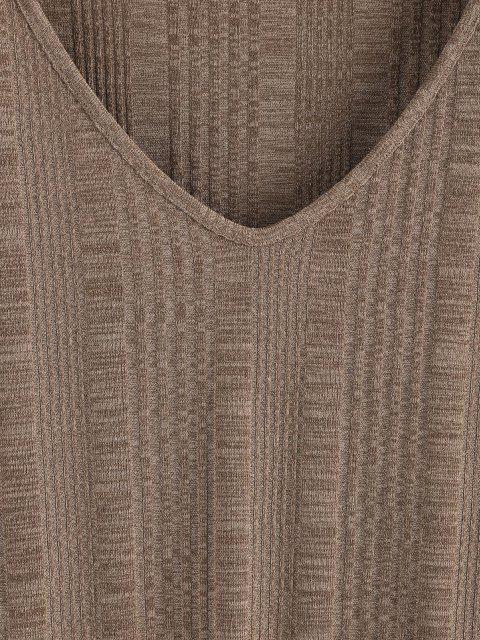 ZAFUL Gota Ombro Malha Camisola T-shirt V - Marrom claro M Mobile