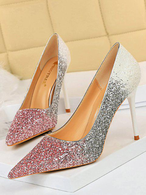Zapatos Tacón Stiletto Gradiente Brillantes - Rosado EU 38 Mobile