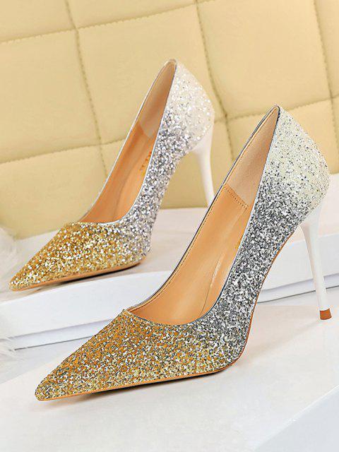 Zapatos Tacón Stiletto Gradiente Brillantes - dorado EU 40 Mobile