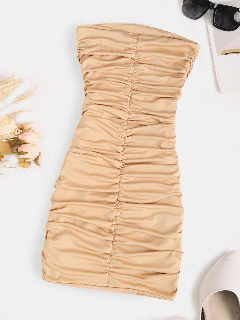 womens Strapless Ruched Bodycon Mini Dress - LIGHT COFFEE S Mobile