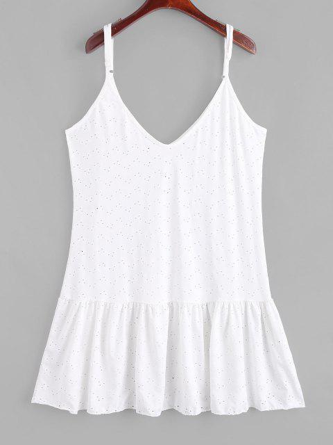 women Broderie Anglaise Drop Waist Cami Dress - WHITE ONE SIZE Mobile