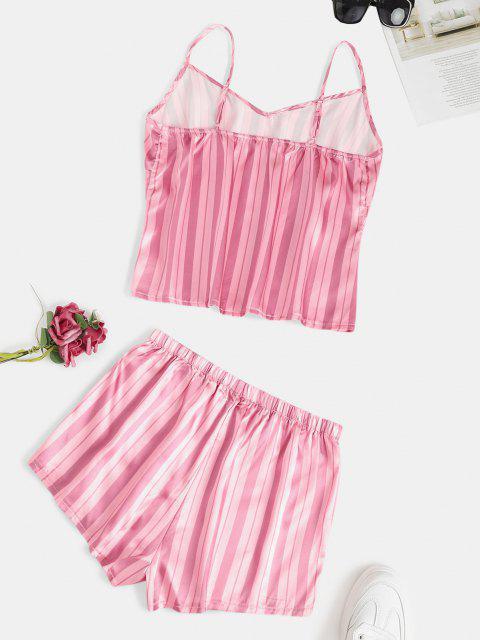 women Sleepwear Stripes Satin Cami Set - LIGHT PINK M Mobile