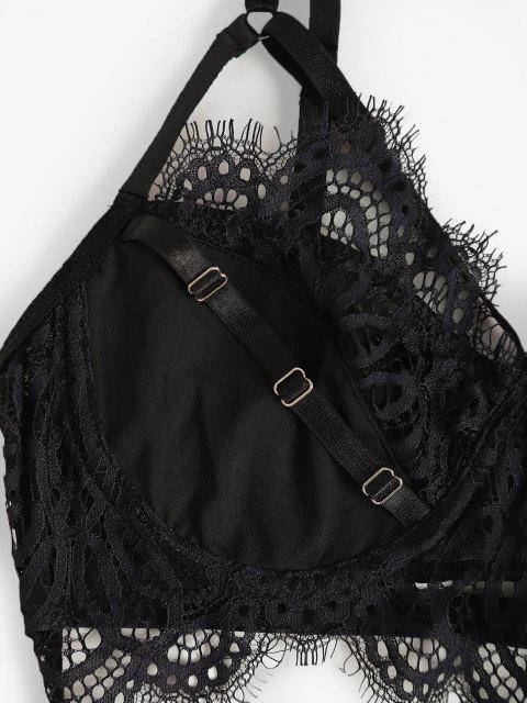 outfits Strappy Underwire Eyelash Lace Panel Lingerie Set - BLACK M Mobile