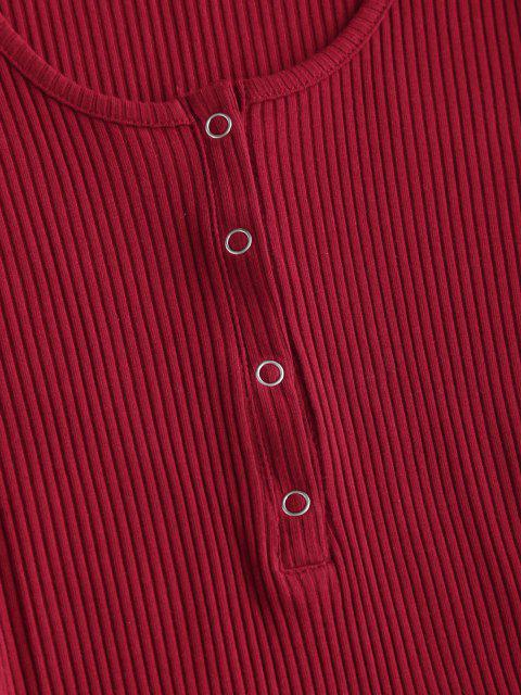 Vestido Envuelto Tejido Grueso a Presión - Rojo M Mobile
