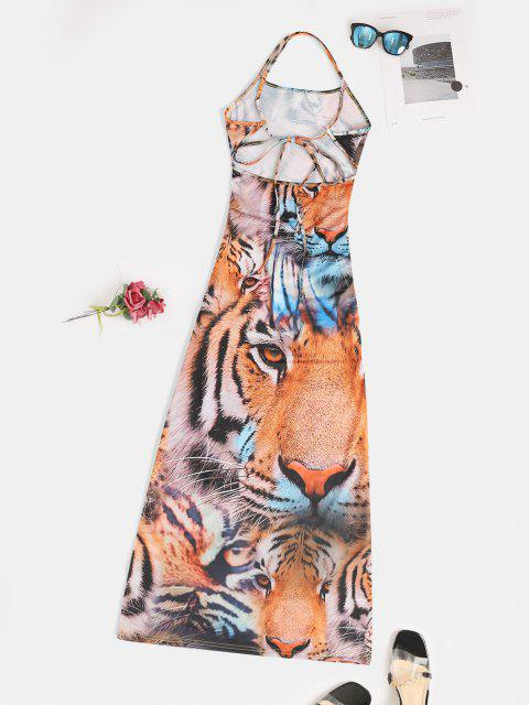 ladies Slit 3D Tiger Print Criss Cross Long Cami Dress - MULTI S Mobile
