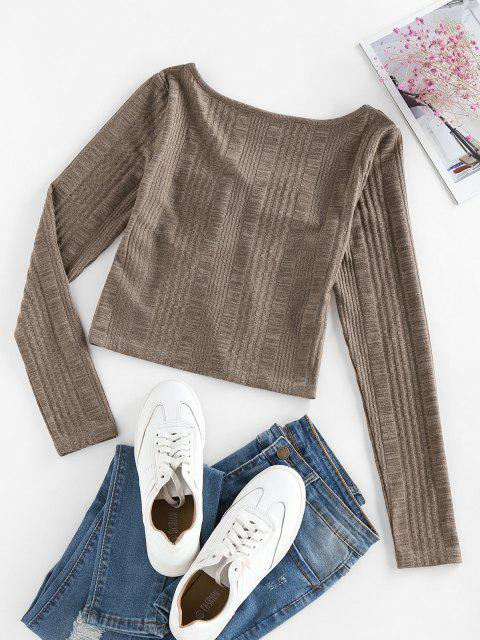 shops ZAFUL Knitted Tie Front Cropped T Shirt - DEEP COFFEE M Mobile