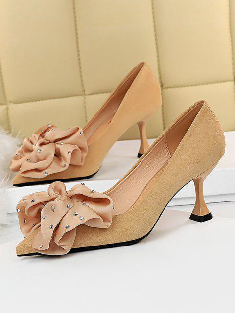 affordable Rhinestone Bowknot High Heel Shoes - APRICOT EU 40 Mobile