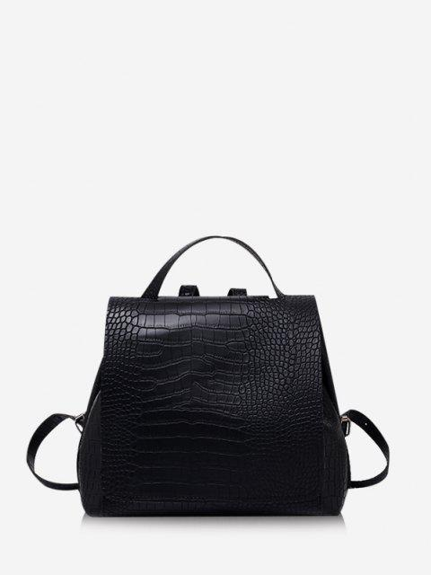 latest Textured Solid Square Cover Backpack - BLACK  Mobile